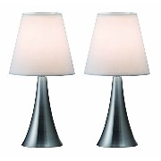 Simple Designs LT2014-WHT-2PK Valencia Brushed Nickel 2 Pack Mini Touch Table Lamp Set with Fabric...