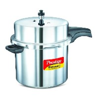 Prestige PRDAPC12 Medium Deluxe Plus New Flat Base Aluminum Pressure Cooker for Gas and Induction Stove Silver - 12 Litres