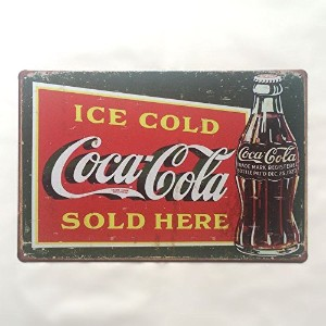 ブリキ看板 コカ・コーラ Coca-Cola ICE COLD SOLD HERE [20cm×30cm]