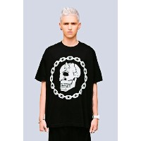 LONG CLOTHING x MISHKA ロングクロージング x ミシカ OVERSIZE MISHKA CHAIN T-SHIRT - BLACK