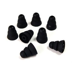 Xcessor Triple Flange Conical Replacement Silicone Earbuds 4 Pairs (Set of 8 Pieces). Compatible...