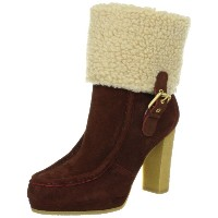 (ロックポート)Rockport COURTLYN FUR LOW BOOT 22.5 赤茶/白