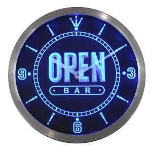 LEDネオンクロック 壁掛け時計 nc0420-b OPEN BAR Beer Home Neon Sign LED Wall Clock