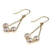 nadi 3.5-4.0mm K18PG アコヤ真珠 ベビーパール チェーンピアス 18K Pink Gold Baby Akoya Cultured Pearl Chain Earrings