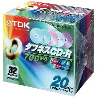 TDK CDRディスク 700MB カラーディスクケース 32倍速 [CD-R80TX20CCN]
