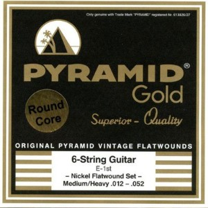 PYRAMID ピラミッド Electric Guitar Gold .012-.052 Medium / Heavy chrome nickel flatwounds on round core
