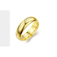 "Gold Plated ""LORD OF THE RINGS"" Vintage Laser Engraved Stainless Steel Ring For Men and Women(Size..."