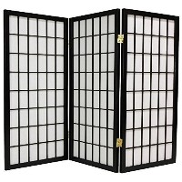 3 Feet Tall Window Pane Shoji Screen in Black Number of Panels: 3 by Oriental Furniture [並行輸入品]