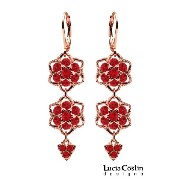 Lucia Costin Flower Shaped Dangle Earrings Made of 24K Pink Gold Plated over .925 Sterling Silver...
