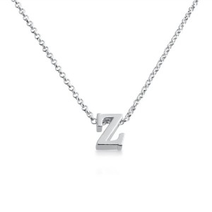 Initial Letter Z Personalized Serif Font Pendant Necklace 14k Plated or 925 Sterling Silver ...