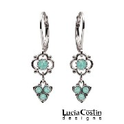 Shiny Dangle Flower Earrings Designed by Lucia Costin with Dots and Mint Blue Swarovski Crystals,...