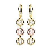 Victorian Style Dangle Earrings by Lucia Costin with 4 Petal Flowers and White Swarovski Crystals...