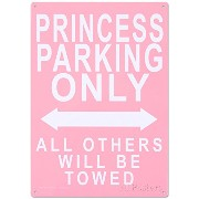 Princess Parking Only No Parking ブリキ看板 20 x 29センチメートル