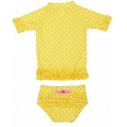 RuffleButts ラッフルバッツ水着 Yellow 6-12m UPF50+ ラッシュガード Yellow Polka Dot Ruffled Rash Guard Bikini (6-12m...