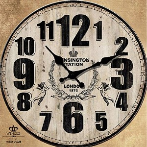 "LOVE(TM)12inch Wooden Clock Shabby Chic Retro Arabic Numeral ""London 1873"" Wooden Wall Clock..."