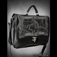 BRIEFCASE A4-MAP BLACK スチームパンクゴシック地図バッグ