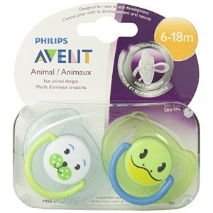 Philips AVENT BPA Free Animal Pacifier, 6-18 Months, Style and Color May Vary, 2-Pack by Avent ...