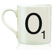 Wild and Wolf Letter O Scrabble Mug, Cream/Black by Wild and Wolf