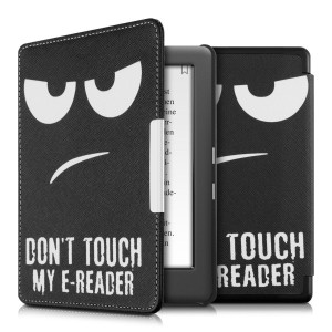 kwmobile フリップ人工皮革ケース Don't touch my E-Readerデザイン Kobo Glo HD (N437) / Touch 2.0用 白色黒色