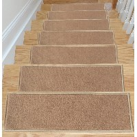 Ottomanson Skid-Resistant Rubber Backing Non-Slip Carpet Stair Treads-Machine Washable Area Rug(Set...