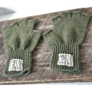 CHERRYT KNIT & CO. | KNITTED FINGERLESS GLOVES (olive) | レディース手袋