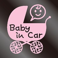 nc-smile Baby in car ステッカー ベビーカー Baby carriage pram stroller (サーモンピンク)