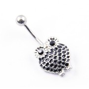 """BODYA 316L Surgical Steel 14 Guage Retro Owl Dangle Belly Button Navel Ring Bar 14g 7/16"""""""