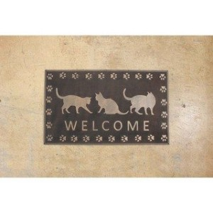 RUBBER MAT RECT WELCOME CAT