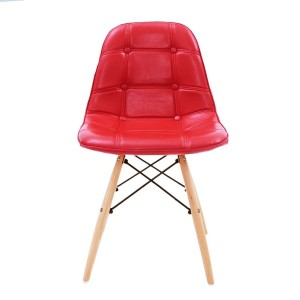UNE BONNE(ウネボネ) 合成革皮 EAMES CHAIR(イームズチェア) イームズ デザイナーチェア 椅子 ダイニングチェア (組立/PU) シャインレッド