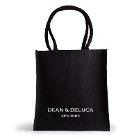 DEAN & DELUCA(ディーン&デルーカ) NEW YORK BLACK & NATURAL COTTON JUTE TOTEジュートート エコバッグ (黒)(New Yorkロゴ入り) ...