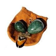 jadeite set of two with drilled holes in soft leather presentation pouch and instructions