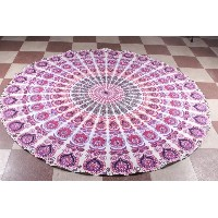 Purple Roundie Round Mandala Indian Peacock Tapestry Tablecloth Round Mandala Beach Sheet Meditation...