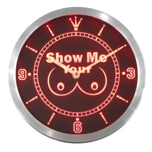 LEDネオンクロック 壁掛け時計 nc0242-r Show Me your Tits Neon Sign LED Wall Clock