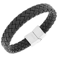 Stainless Steel Black Faux PU Leather Silver-Tone Wristband Men's Bracelet