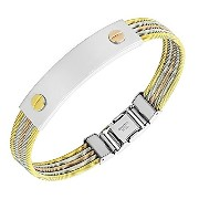 Stainless Steel Gold-Tone Silver-Tone Screw Design Twisted Cable Bangle Bracelet