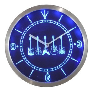 LEDネオンクロック 壁掛け時計 nc0150-b Guitar Weapons Band Room Neon Sign LED Wall Clock