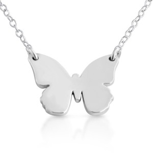 925 Sterling Silver Butterfly Silhouette Charm Pendant Necklace (18 Inches)