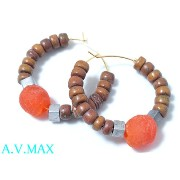 a.v.max エーヴィーマックスbeaded hoop earring/navajo/gold plated earring