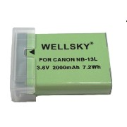 【WELLSKY】 Canon キヤノン ● NB-13L ● 互換バッテリー● 純正充電器で充電可能 PowerShot G7 X に残量表示可能 ● Power Shot G7 X Mark...