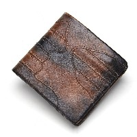 Contacts Genuine Leather Vintage Men Zipper Short Wallet Purse with Card Holder