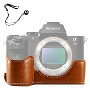No1accessory XJPT-A7II-D09 ブラウン Sony Alpha A7 II . A7 Mark 2 . A7R Mark 2 専用 PU 半分レザー レフ カメラバッグ...