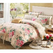 FeiLimei Bedding&Clothes 布団カバー 綿 花柄 4点セット BC606
