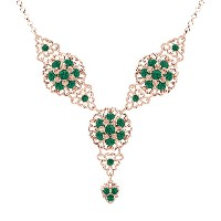 Astonishing Y Shaped Necklace Designed by Lucia Costin with Green Swarovski Crystals, Lace-Like...