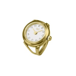 Davis 4174 レディースローズゴールドリングウォッチ Ladies Yellow Gold Ring watch White Dial Swarovski stones Adjustable