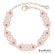 Blossom Bracelet Designed by Lucia Costin with Pink and White Swarovski Crystals, Adorned with Cute...