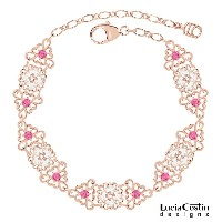 Blossom Bracelet Designed by Lucia Costin with Pink and White Swarovski Crystals, Adorned with Cute Flowers and Triangle Shaped Filigree Details; 24K...