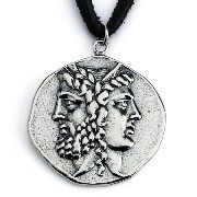 925 Sterling Silver Replica Janiform Head of Zeus and Hera Greek Coin Pendant Necklace