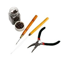 HAIR EXTENSIONS COPPER PLIER LOOP FOR MICRO RINGS W/500PCS BEADS FULL KIT Z022 by Micro Trader