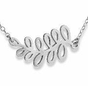 925 Sterling Silver Sideways Olive Leaf Branch Pendant Necklace (16 Inches)