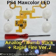 PS4コントローラーボタンが光る! 連射が出来る! そんな改造キット 第2弾!! PS4 Maxcolor LED Analog Thumb Stick + Rapid Fire Ver.2 /...
